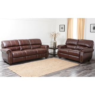 Abbyson Living Ashley Premium Top-grain Leather Sofa and Loveseat