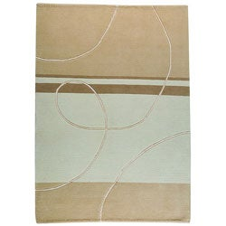 Hand-knotted Indo-tibetan Flow White Wool Rug (5'6 x 7'10)
