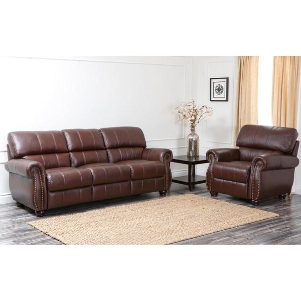 ABBYSON LIVING Ashley Premium Top-grain Leather Sofa and Armchair