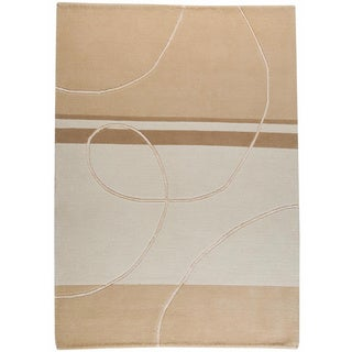 Hand-knotted Indo-tibetan Flow White Wool Rug (6'6 x 9'9)