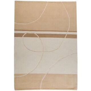 Hand-knotted Indotibetan Flow White Wool Rug (8'3 x 11'6)