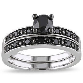 1 CT Black Diamond TW Bridal Set Ring Silver Black Rhodium Plated