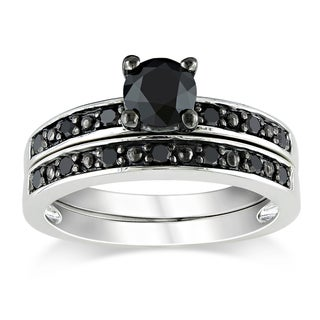 Miadora Sterling Silver 1ct TDW Black Diamond Bridal Ring Set with Bonus Earrings