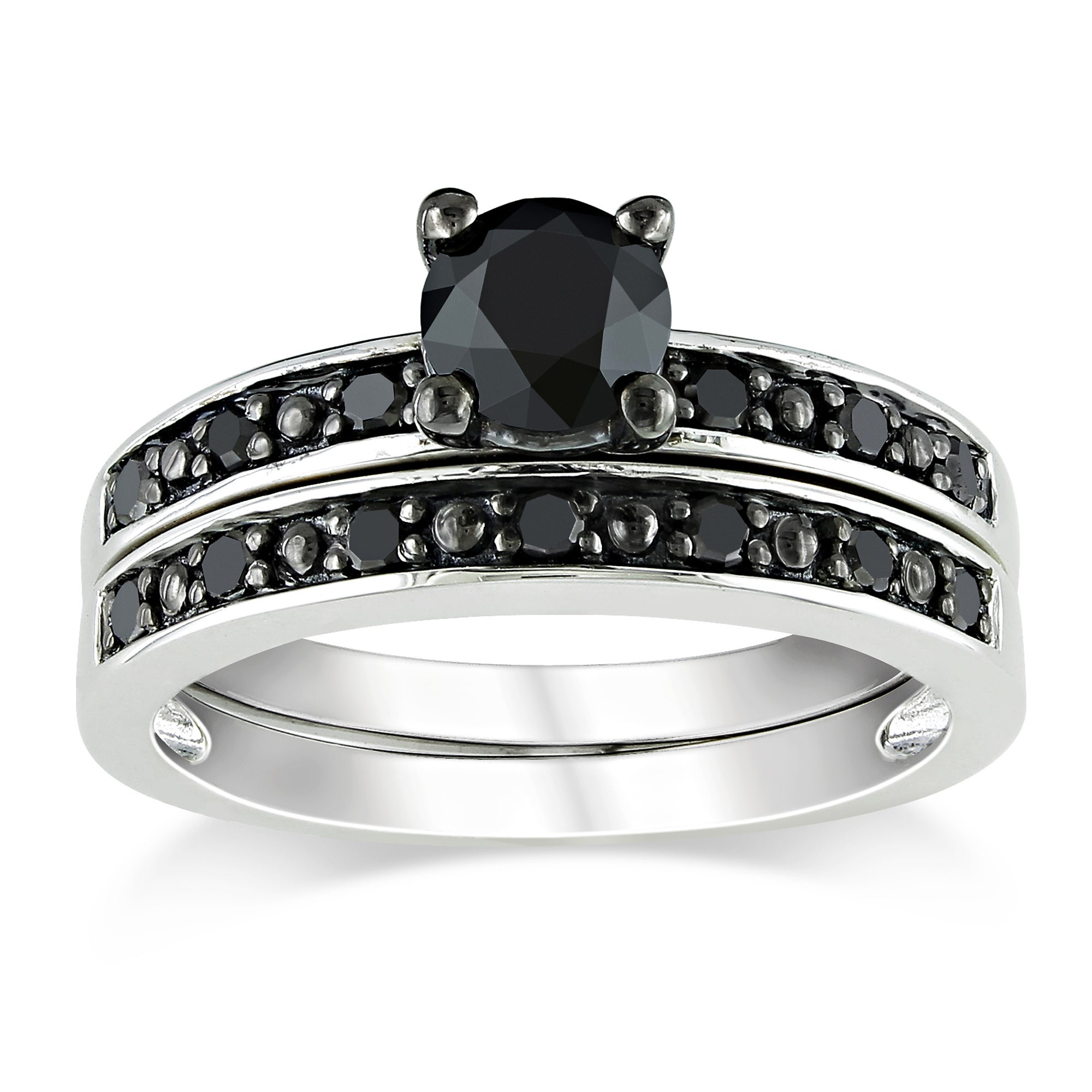 Sterling Silver 1ct TDW Black Diamond Bridal Ring Set ...