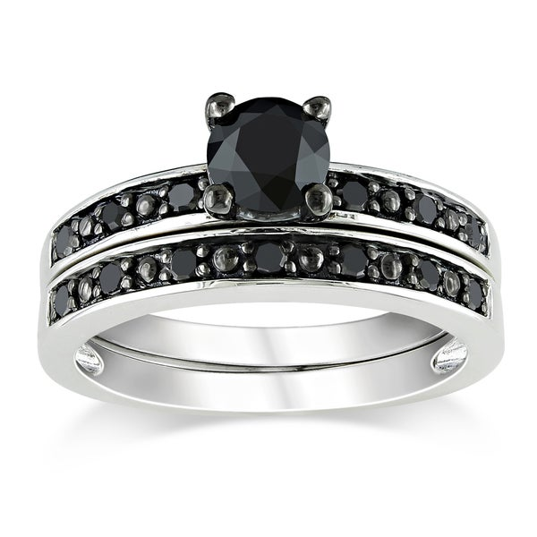 Miadora 1 CT Black Diamond TW Bridal Set Ring Silver Black Rhodium