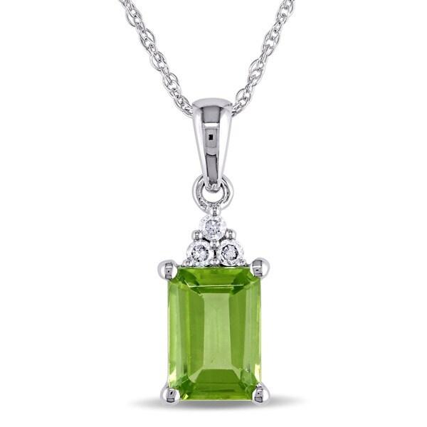 Miadora 10k White Gold Diamond and Peridot Necklace