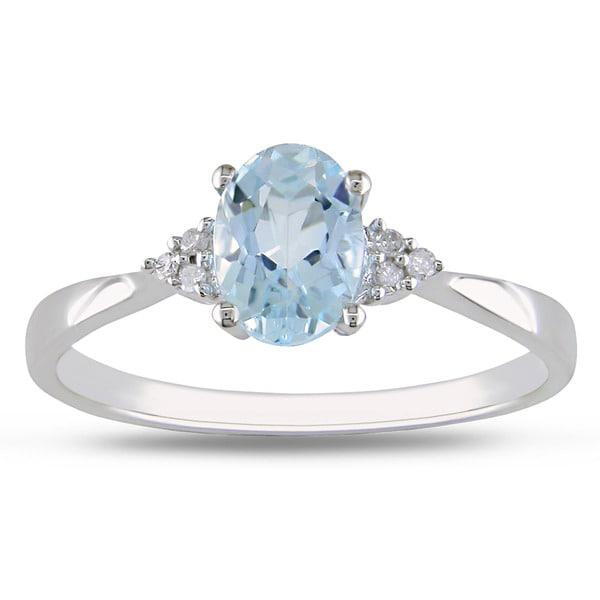 Miadora 10k White Gold Blue Topaz Diamond Accent Ring