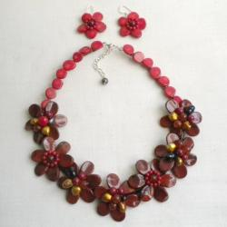 Multi-gemstone and Pearl Red Flower Jewelry Set (10-12 mm) (Thailand)