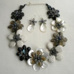 Multi-gemstone and Pearl Grey Scale Jewelry Set (7-10 mm) (Thailand)