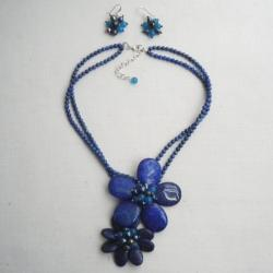 Lapis, Sandstone and Pearl Blue Floral Jewelry Set (7-10 mm) (Thailand)