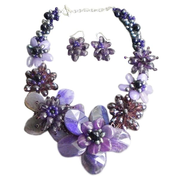 Agate/ Amethyst/ Pearl Purple Floral Jewelry Set (5-10 mm) (Thailand)