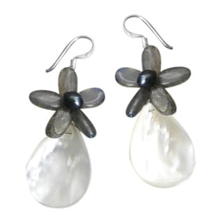 Quartz/ Pearl/ Mother of Pearl Flower Drop Earrings (5-7 mm) (Thailand)