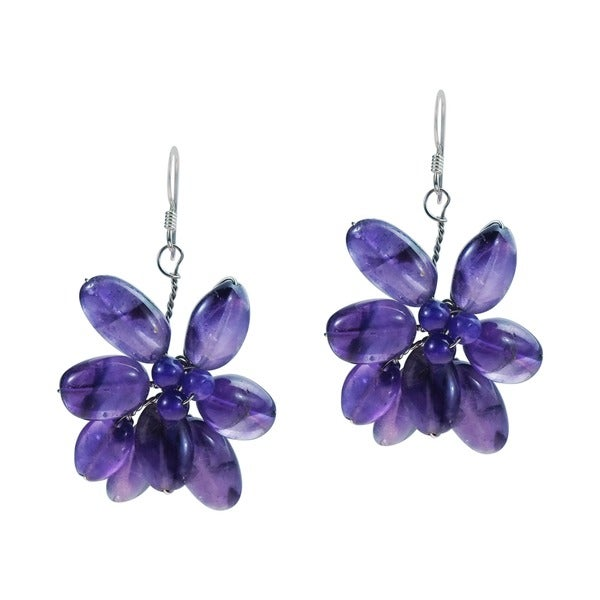 Amethyst Cluster Floral Earrings (Thailand)