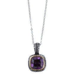 La Preciosa Two-tone Sterling Silver Purple Cubic Zirconia Necklace