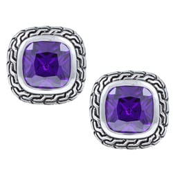 La Preciosa Sterling Silver Purple Cubic Zirconia Square Stud Earrings