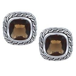 La Preciosa Sterling Silver Brown Cubic Zirconia Square Stud Earrings