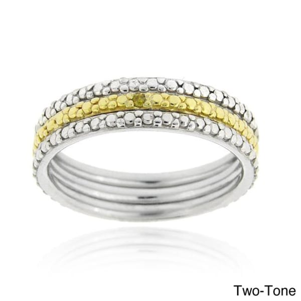 DB Designs Two-tone or Tri-color Silver Diamond 3-piece Ring Set