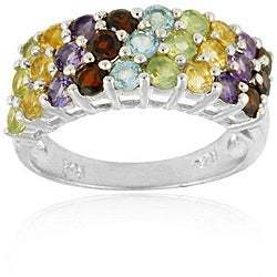 Glitzy Rocks Sterling Silver Multi-gemstone Fashion Ring