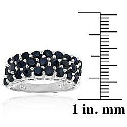 Glitzy Rocks Sterling Silver Multi-row Sapphire Ring