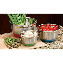 Three-piece Silicon non-skid Base Mixing Bowl Set