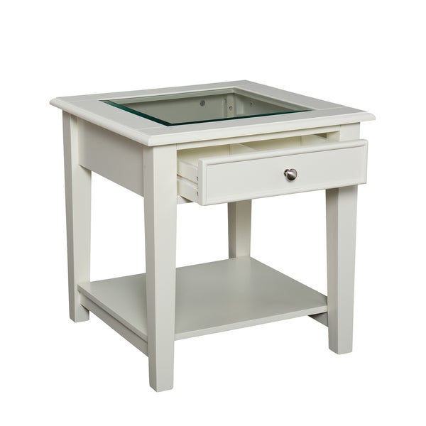 End table contemporary modern style side glass display top living room