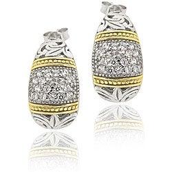 Icz Stonez Two-tone Silver Cubic Zirconia Half-hoop Earrings