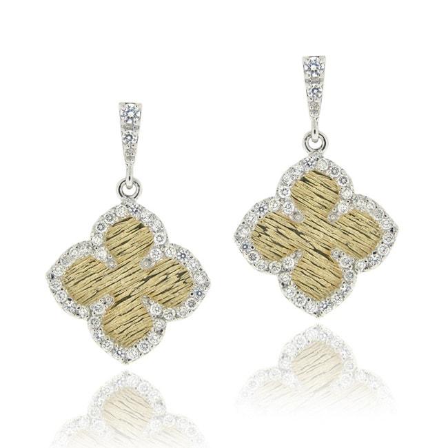 Icz Stonez Two-tone Silver Cubic Zirconia Flower Dangle Earrings