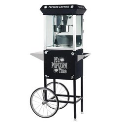 Popcorn Time 6088 Black 6-oz Antique Popcorn Machine and Cart