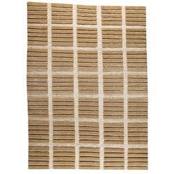 Hand-knotted Pian Beige Wool Rug (4'6 x 6'6)