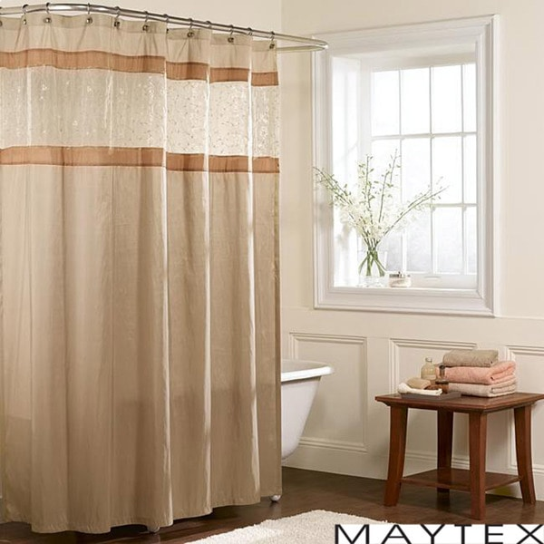 Maytex Embroidered Panel Fabric Shower Curtain - 13372595 - Overstock ...