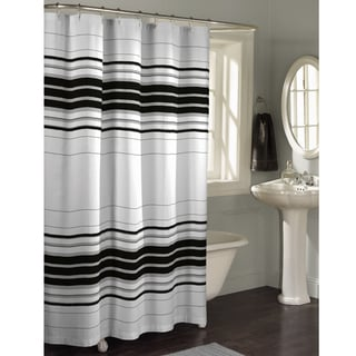 Maytex Horizontal Stripe Fabric Shower Curtain