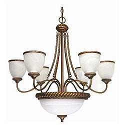 Tet-A-Tet 9-light Old Gold Alabaster Glass Chandelier