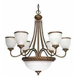 Tet-A-Tet 9-light Old Gold Alabaster Glass Chandelier
