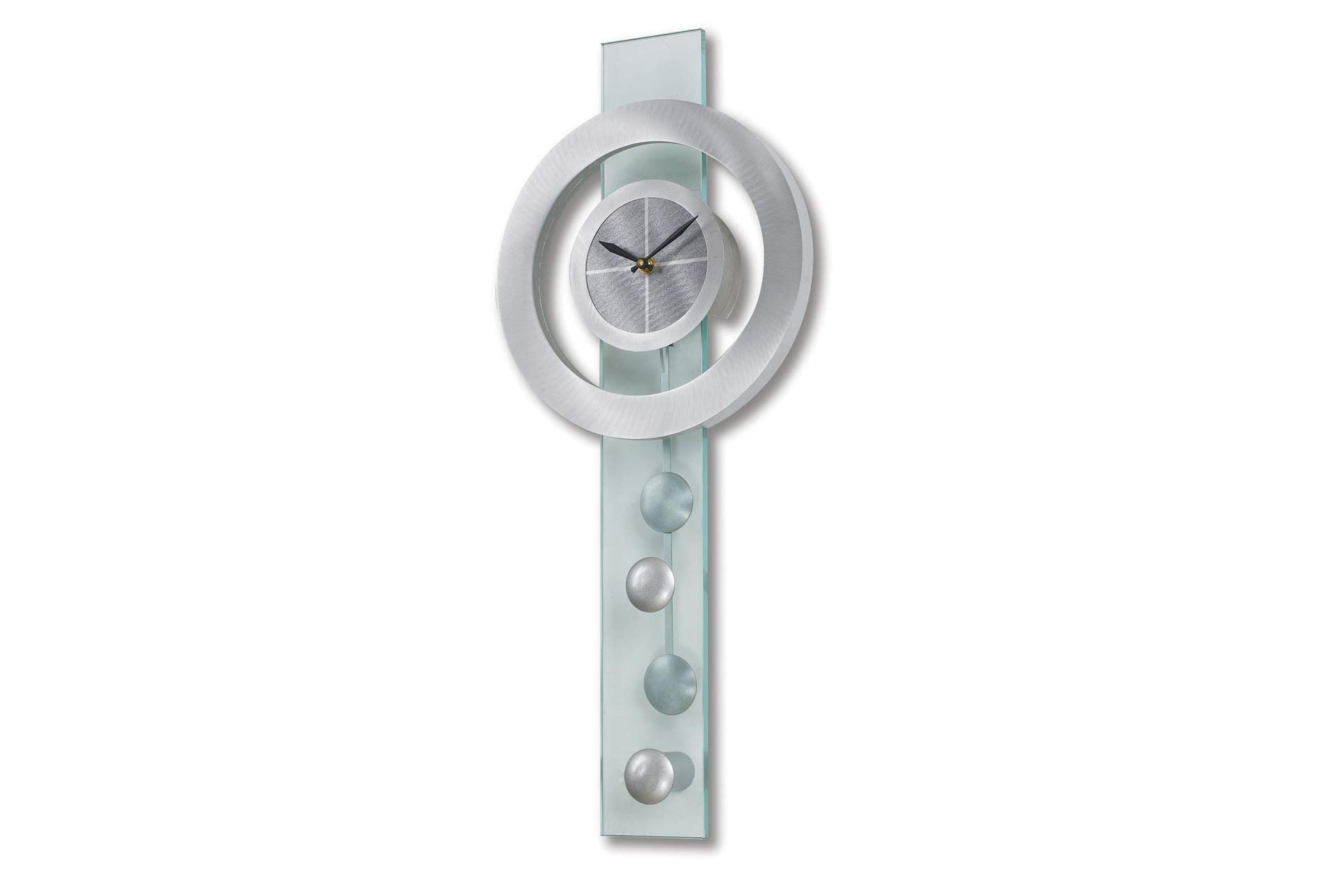 Jon Gilmore Designs 'Juggling Time' Silver Pendulum Wall Clock