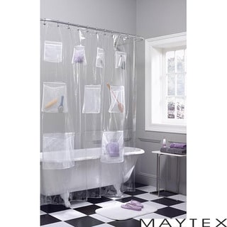 Maytex Mesh Pockets Vinyl Shower Curtain