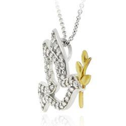 Icz Stonez Two-tone Icz Stonez Sterling Silver Cubic Zirconia Bird Necklace
