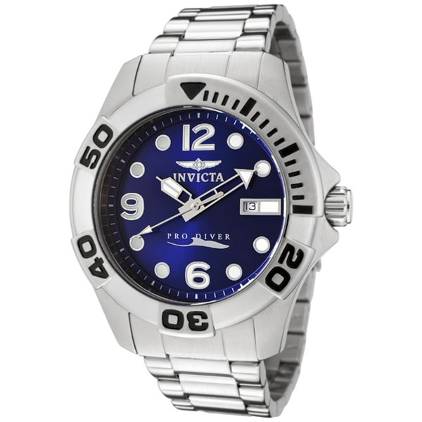 Invicta Men's 'Pro Diver' Blue Dial Stainless Steel Watch