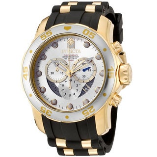 Invicta Men's 6985 'Pro Diver' Rubber & 18k Goldplated Chronograph Watch