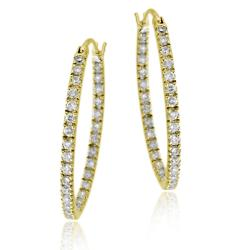 Icz Stonez 18k Gold over Sterling Silver Cubic Zirconia Oval Hoop Earrings