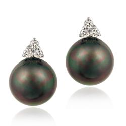 Icz Stonez Sterling Silver Cubic Zirconia Faux Peacock Pearl Earrings