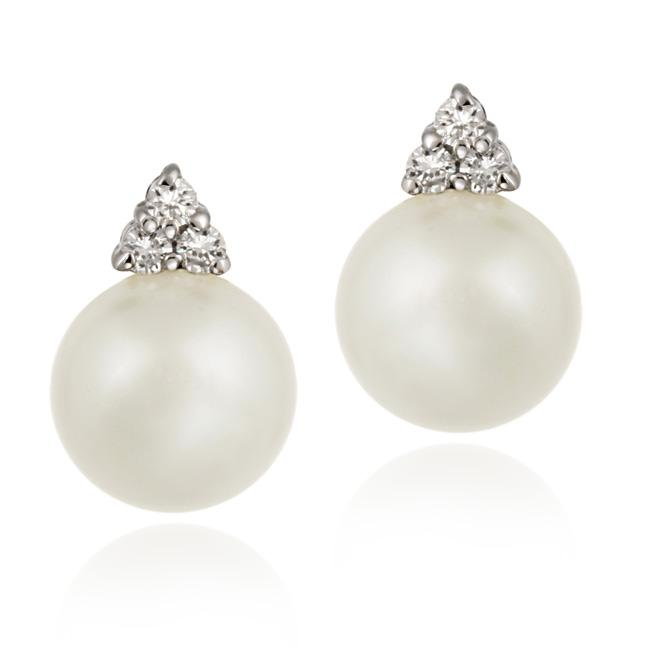 Icz Stonez Sterling Silver Cubic Zirconia Faux White Pearl Earrings