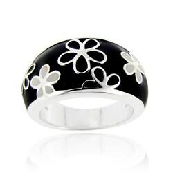 Glitzy Rocks Sterling Silver Black and White Enamel Flower Ring