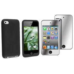 Black Silicone Case/ Mirror Screen Protector for Apple iPod Touch Gen4
