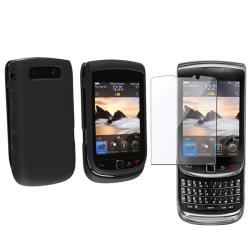 Black Rubber Case/ Screen Protector for BlackBerry Torch 9800