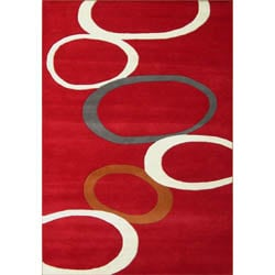 Handmade Red Abstract Wool Rug (5' x 8')