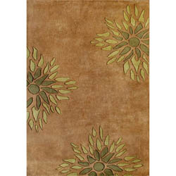 Handmade Brown Floral Wool Rug (5' x 8')