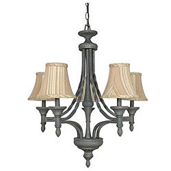 Nottingham Pumice Stone Striped Fabric Shade 5-light Chandelier