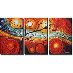 'Tree and Starry Night' Hand-painted 3-piece Canvas Art Set