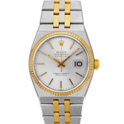 Pre-owned Rolex Men's Quartz Oysterdate Two-tone White Dial Watch