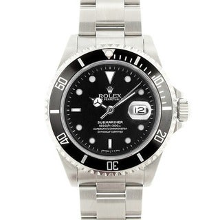 Pre-owned Rolex Men's Submariner Stainless Steel Black Dial Watch